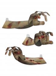 Schaurige 3D Zombie-Hand Halloween Party-Deko grau 38cm