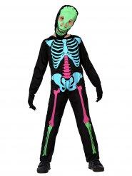 Skelett Halloween-Kinderkostüm schwarz-bunt