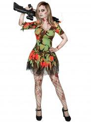 Zombie-Soldatin Halloween-Damenkostüm grün-rot