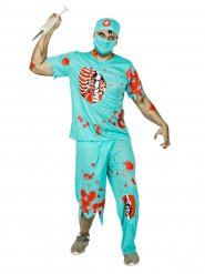 Zombie-Chirurg Halloweenkostüm Arzt türkis-rot