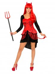 Burlesque-Teufelin Damenkostüm schwarz-rot