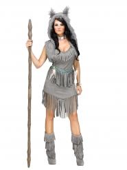 Wolf-Jägerin Indianerin Damenkostüm Western grau