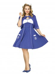 50er-Jahre Matrosin Plus Size Damenkostüm Sailor Girl blau-weiss