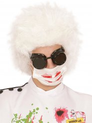 Blutiger Mundschutz Halloween-Maske weiss-rot
