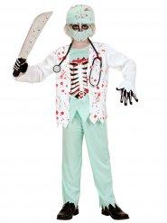 Blutiger Zombie-Arzt Halloween Kinderkostüm Chirurg weiss-hellgrün