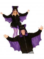 Fledermaus Kapuzen-Hoodie Kostüm-Pullover schwarz-lila-gelb