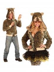 Leopard Kapuzen-Hoodie Kostüm-Pullover braun-beige-gelb