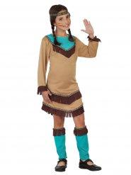 Kleine Indianerin Kinderkostüm Wilder Westen braun-hellblau