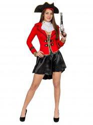 Edle Piratin Damenkostüm Seeräuberin schwarz-rot