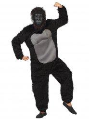 Gorilla Jumpsuit-Kostüm Affe schwarz