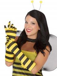 Lange Handschuhe mit Bienenmuster gelb-schwarz
