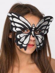 Venezianische Schmetterlingsmaske Augenmaske mit Glitter silber