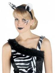 Zebra-Haarreif Kostümzubehör weiss-schwarz