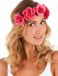 Blumen-Haarband Rosen pink-rot