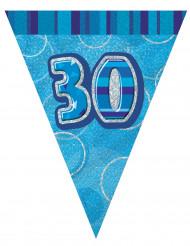 Wimpelgirlande Kunststoff-Partygirlande 30 Jahre blau