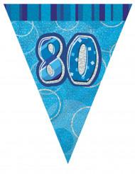 Wimpelgirlande 80 Jahre, blau-silbern