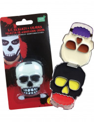 Totenkopf Halloween-Make-up-Set bunt