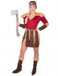 Wikingerin-Damenkostüm Karnevalskostüm rot-beige-braun