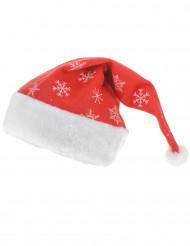 Weihnachtsmütze mit Schneeflocken rot-weiss