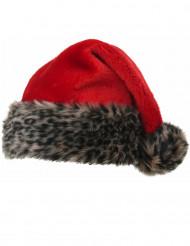 Weihnachtsmütze Leoparden-Look rot-braun