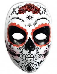 Klassische Tag-der-Toten-Maske mit Rosen weiss-schwarz-rot