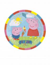 Peppa Wutz™ Pappteller für Kindergeburtstage Tischdeko 8 Stück bunt 18cm
