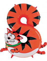 Folienballon 1 Meter als Ziffer 8 - orange