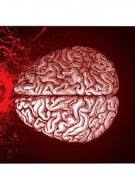 Halloween Servietten Gehirn 20 Stück rot 17cm