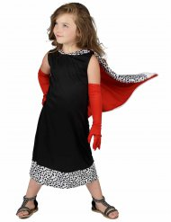 Böse Dalmatiner-Lady Kinderkostüm schwarz-weiss-rot