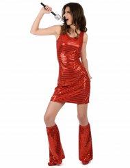 Sexy Paillettenkleid Disco-Damenkostüm 70er-Outfit rot