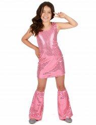 70er Disco-Kostüm für Mädchen mit Pailletten rosa