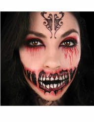 Tattoo Abziehbild Zombiemund rot-schwarz