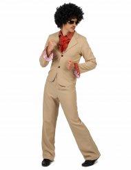 70er Disco-Herrenkostüm mit Rüschen beige-rot