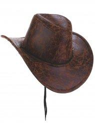 Cowboyhut aus Kunstleder Kostüm-Accessoire braun