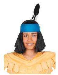 Yakari™-Indianerperücke mit Kopfband Lizenzartikel schwarz-blau