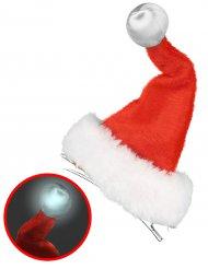 Weihnachtsmann-Mütze mit Leuchtkugel rot-weiss
