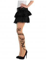 Halloween-Damenstrumpfhose mit Schlangen-Tattoo Kostüm-Accessoire transparent-grau