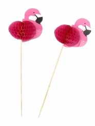 Flamingo-Partyspieße Party-Zubehör 12 Stück rosa 17,5cm