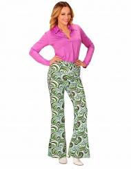 70er-Disco-Hose Damenhose Kreismuster weiss-grün-schwarz