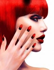 Künstliche Fingernägel selbstklebend 12 Stück rot-schwarz