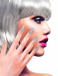 Fingernägel glänzend 12 Stück silber