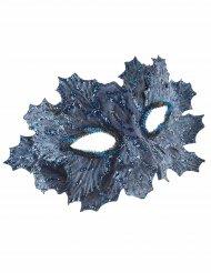 Maske mit Pailletten und Blättern für Damen blau
