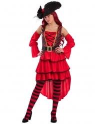 Hochwertiges Piratinnenkostüm Freibeuterin rot-schwarz