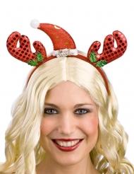 Rentier-Haarreif mit Mütze Weihnachts-Accessoire rot