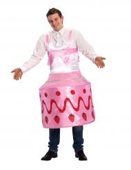 Lustiges Geburtstagstorten-Kostüm Kuchen-Kostüm rosa-rot-weiss