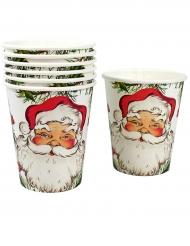 Weihnachtsbecher Weihnachtsmann-Motiv 8 Stück weiss-rot-grün 250ml