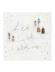 Winter-Servietten Let it Snow 20 Stück weiss-gold-schwarz 33x33cm