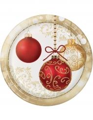 Weihnachtsteller Christbaumkugel-Motiv 8 Stück gold-rot-weiss 23cm