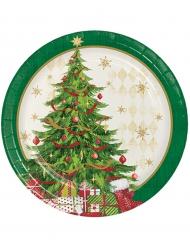 Weihnachtsteller mit Christbaum-Motiv 8 Stück grün-bunt 18cm