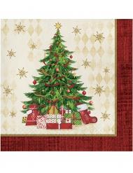 Weihnachtsservietten Tannenbaum und Geschenke 16 Stück bunt 33x33cm